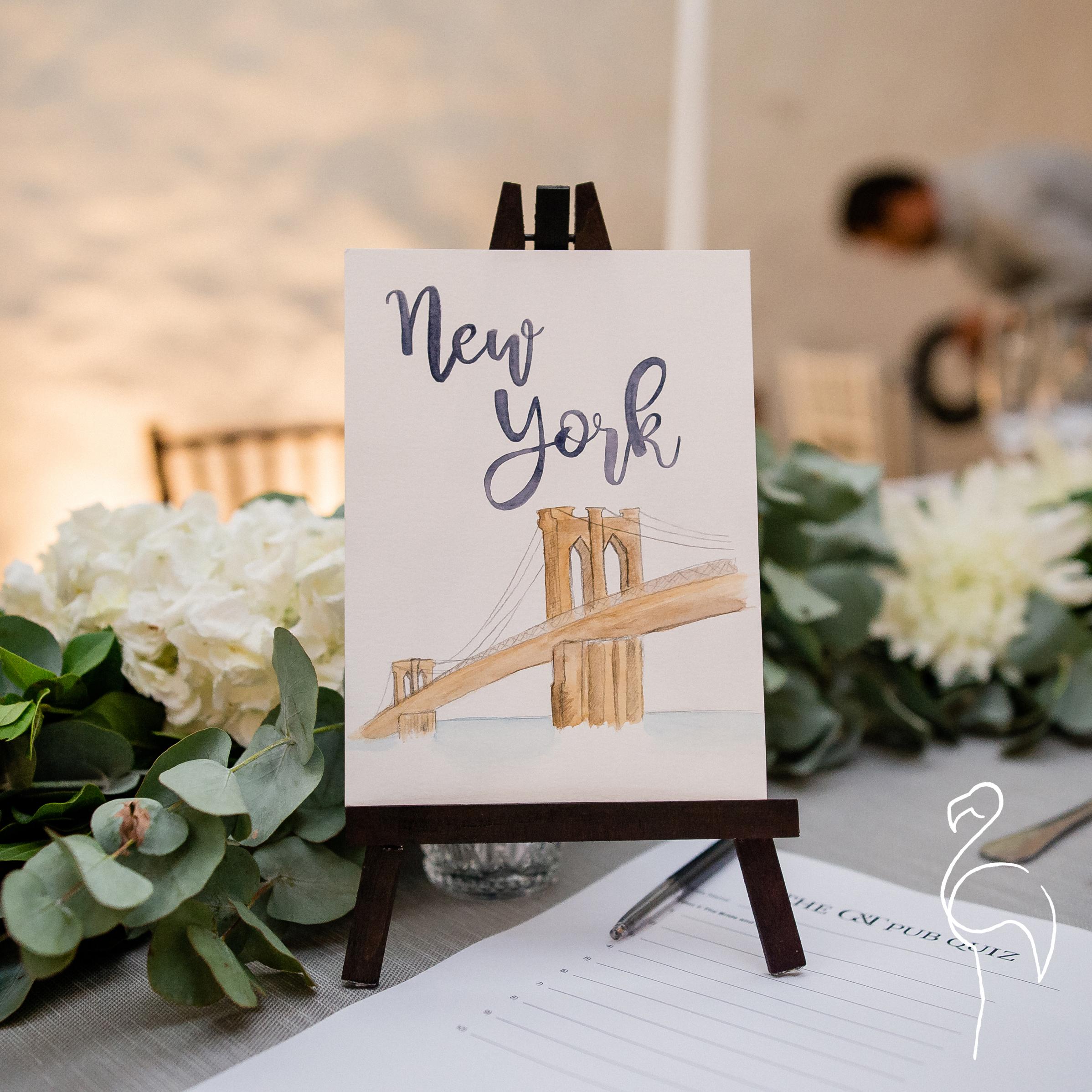 Brazzlebird - Wedding Table Sign New York Brooklyn Bridge.jpg