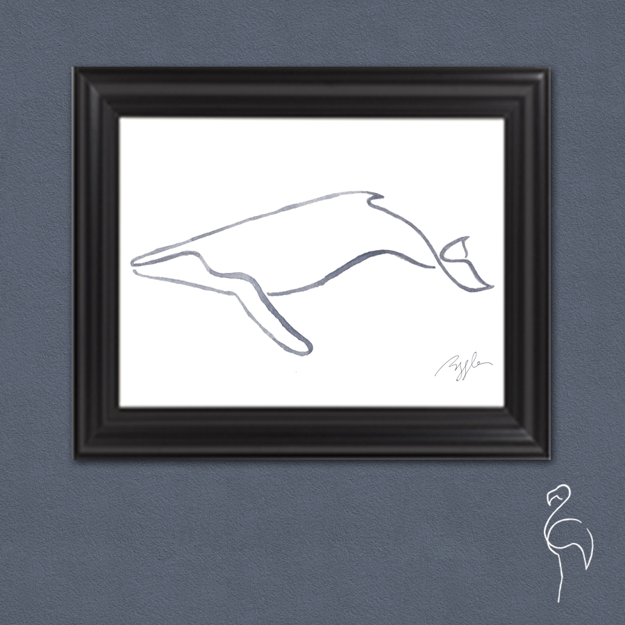 Brazzlebird - Line Collection Humpback Whale Framed Wall Art.jpg
