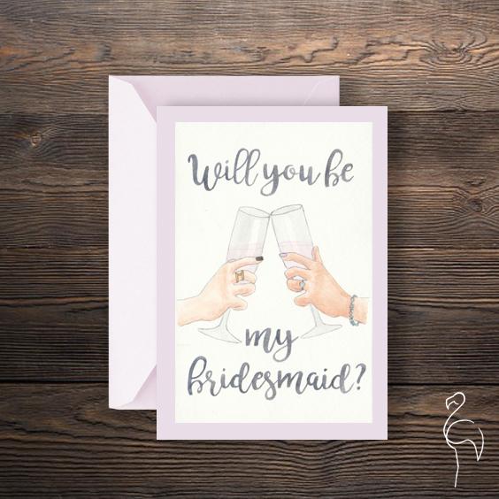Brazzlebird - Watercolor Will You Be My Bridesmaid Invitation Pink.jpg