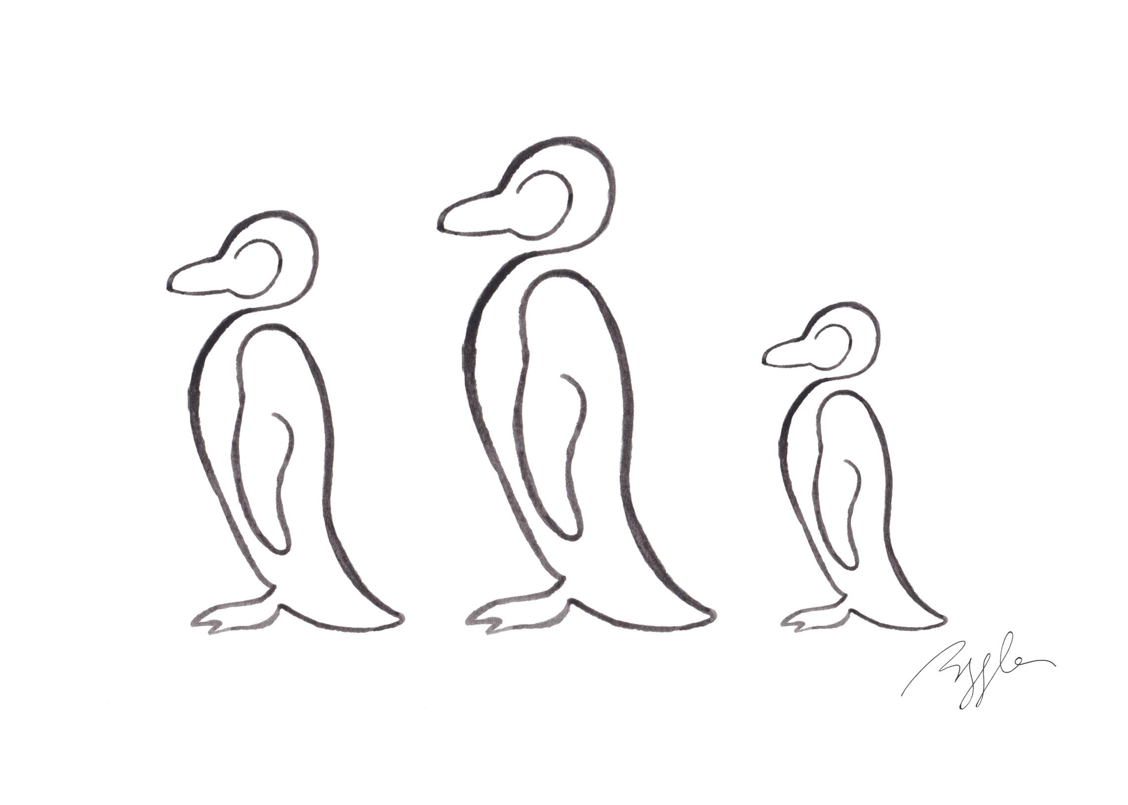 Brazzlebird - African Penguins Line Watercolor Painting.jpg