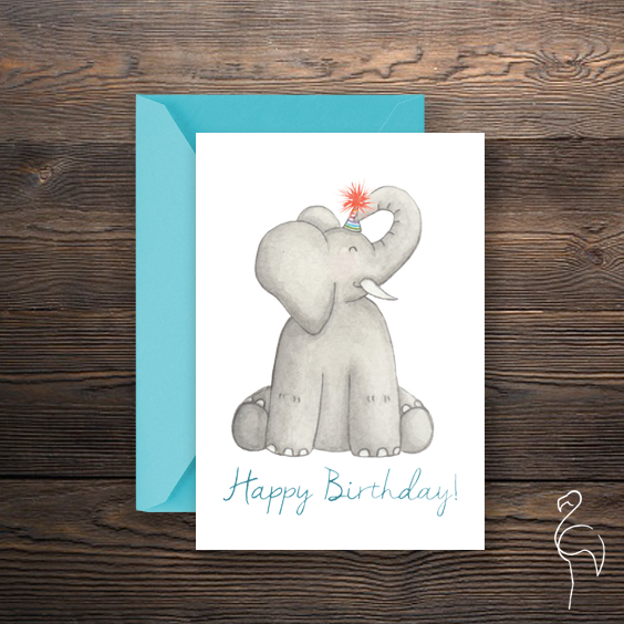 Brazzlebird - Watercolor Elephant Character Happy Birthday Card.jpg