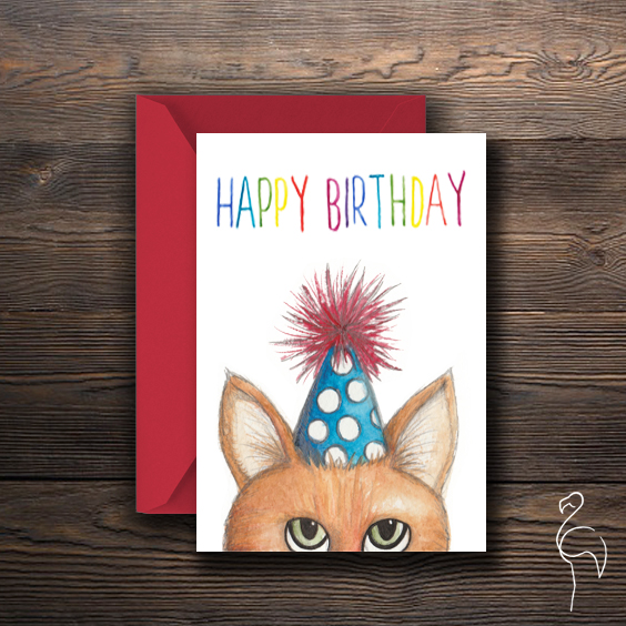 Brazzlebird - Watercolor Ginger Cat Character Birthday Card.jpg
