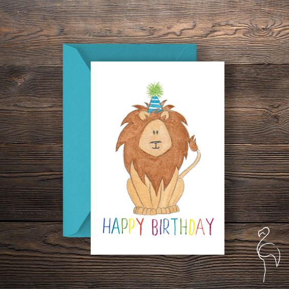 Brazzlebird - Watercolor Lion Character Happy Birthday Card.jpg