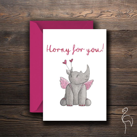 Brazzlebird - Watercolor Rhino Character Horny For You Valentines Day Card.jpg