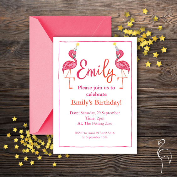 Brazzlebird - Watercolor Custom Flamingo Character Birthday Party Invitation.jpg