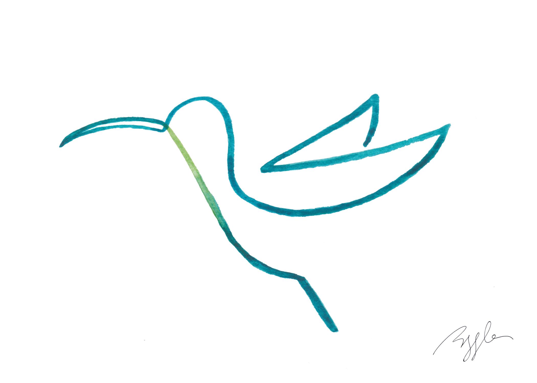 Brazzlebird - Blue Hummingbird Bird Line Watercolor Painting.jpg