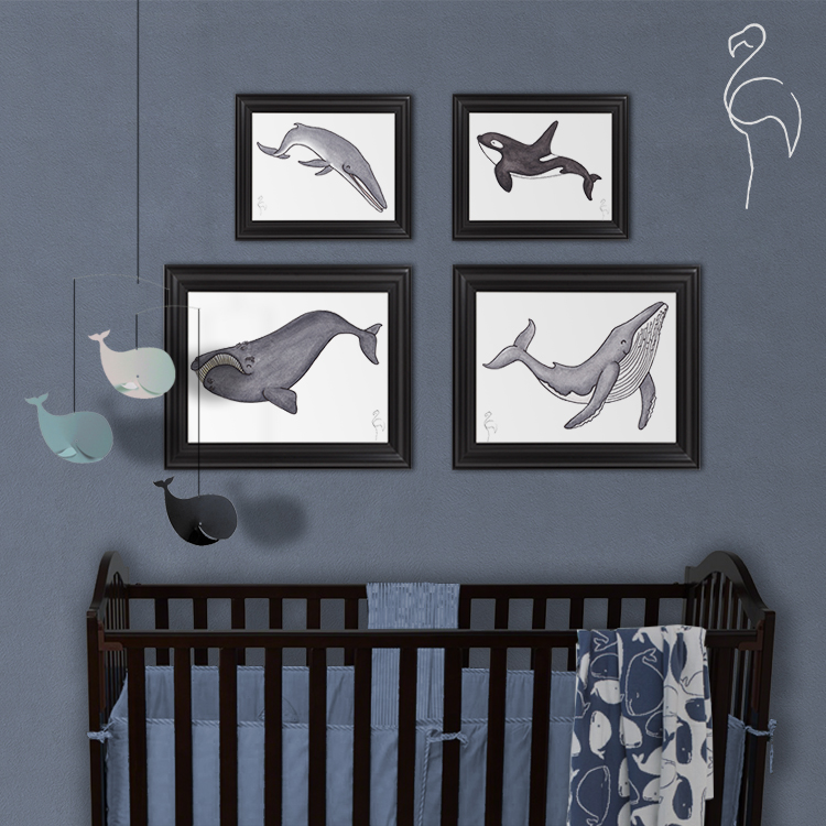 Brazzlebird - Baby Whale Nursery Room Decor Wall Art