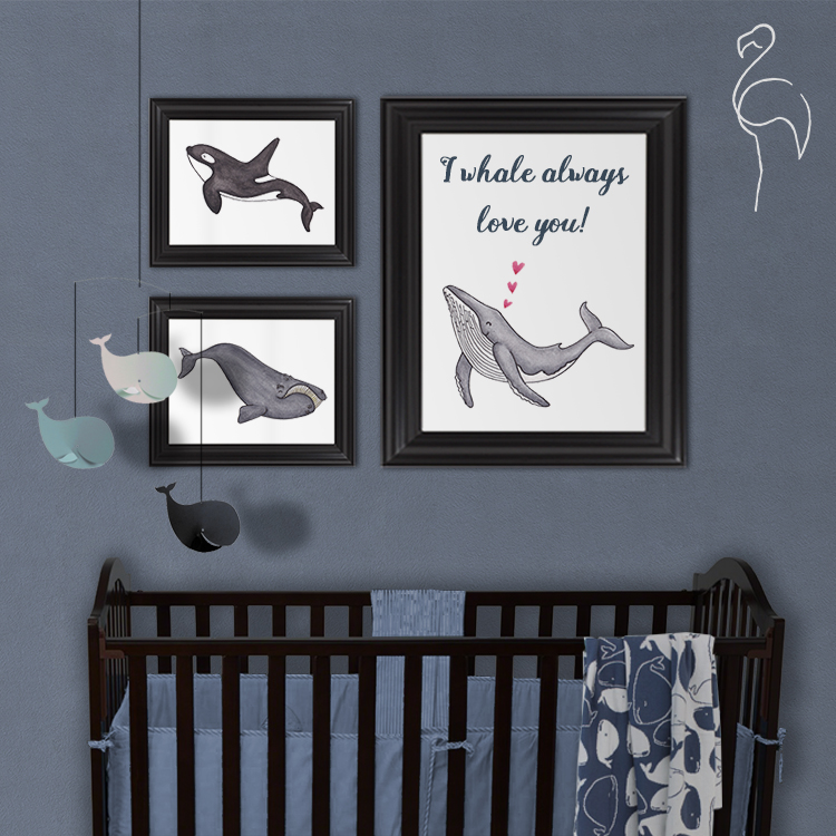 Brazzlebird - I Whale Always Love You Nursery Room Decor Wall Art