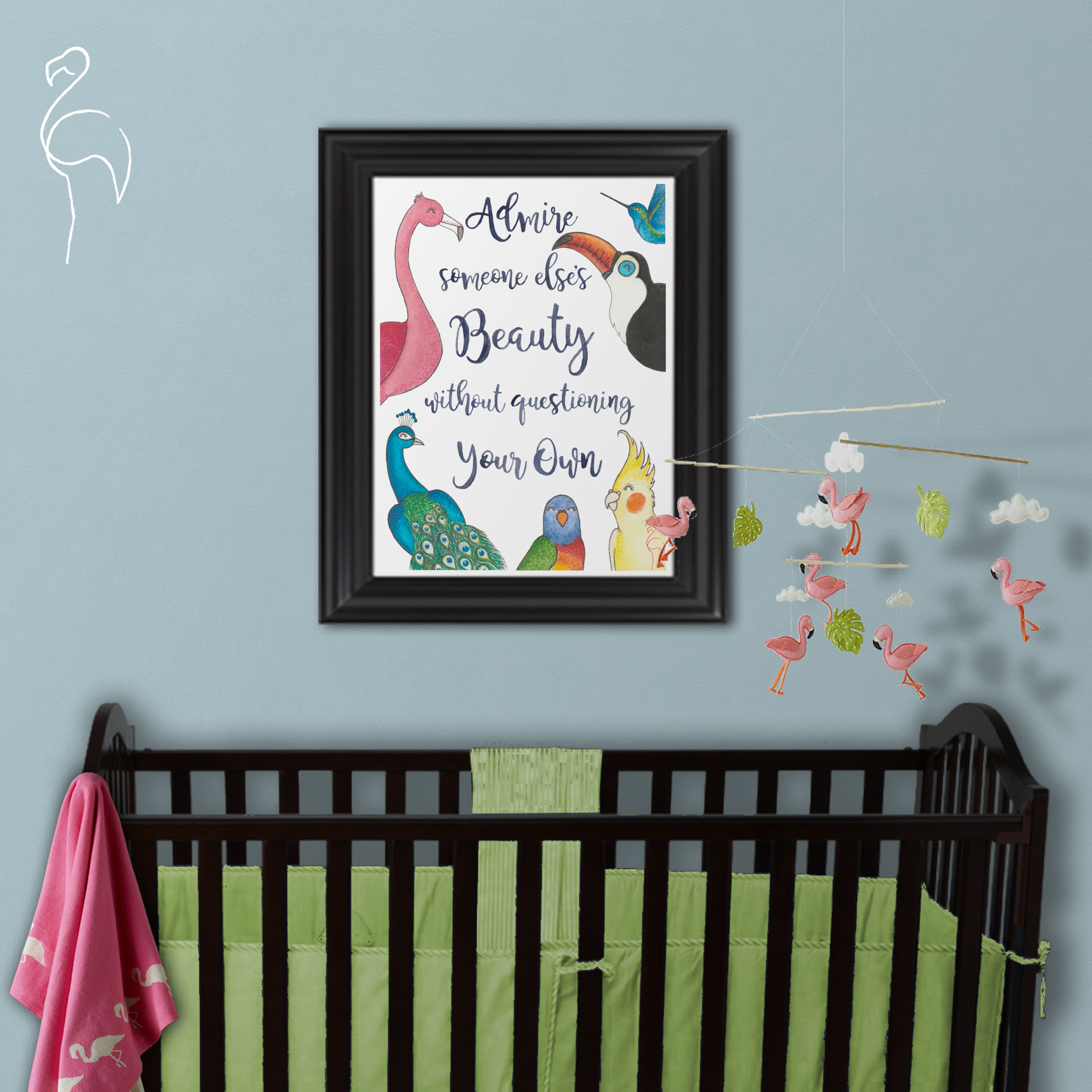 Brazzlebird - Baby Nursery Flamingo Tropical Admire Beauty Wall Art