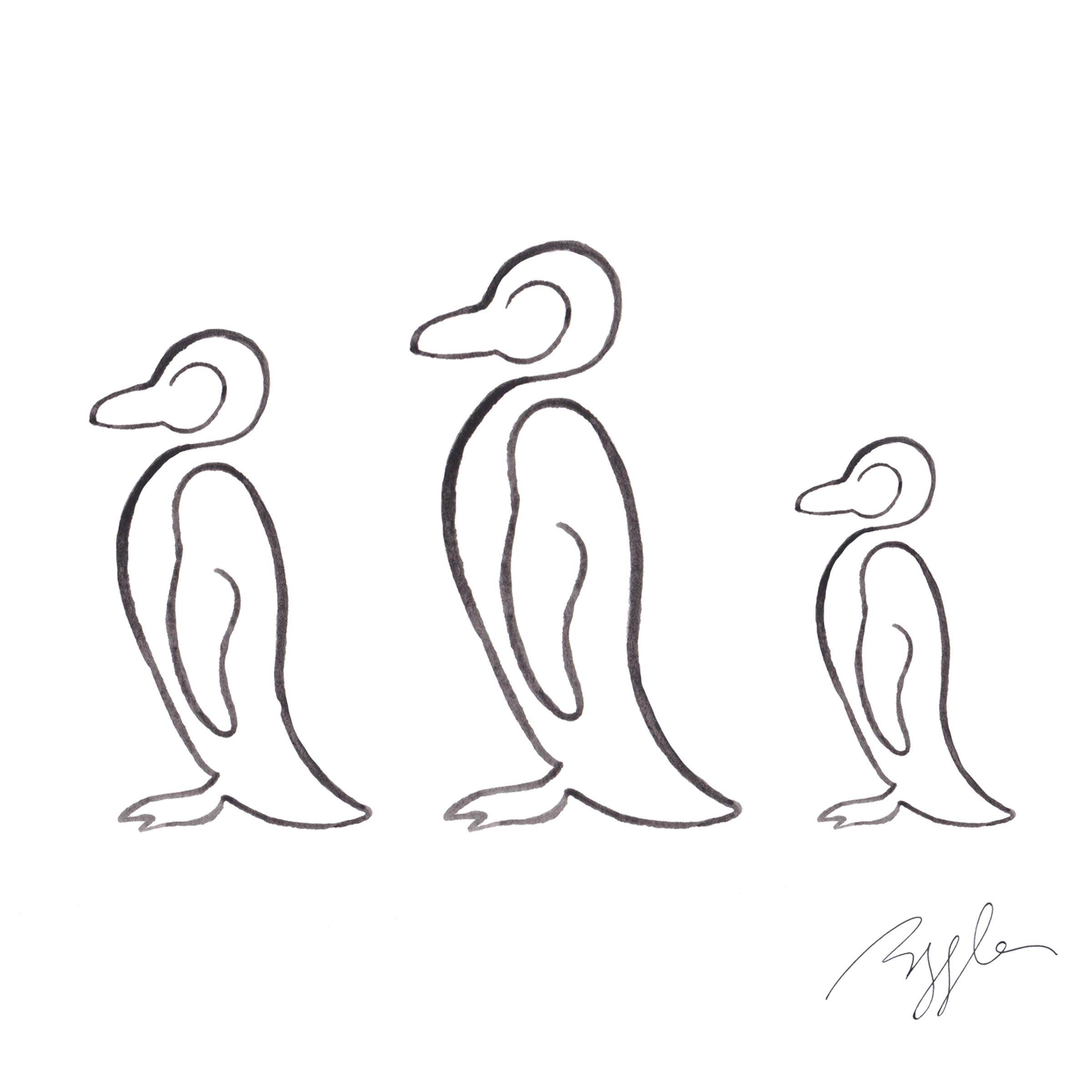 Brazzlebird - Penguin Line Art