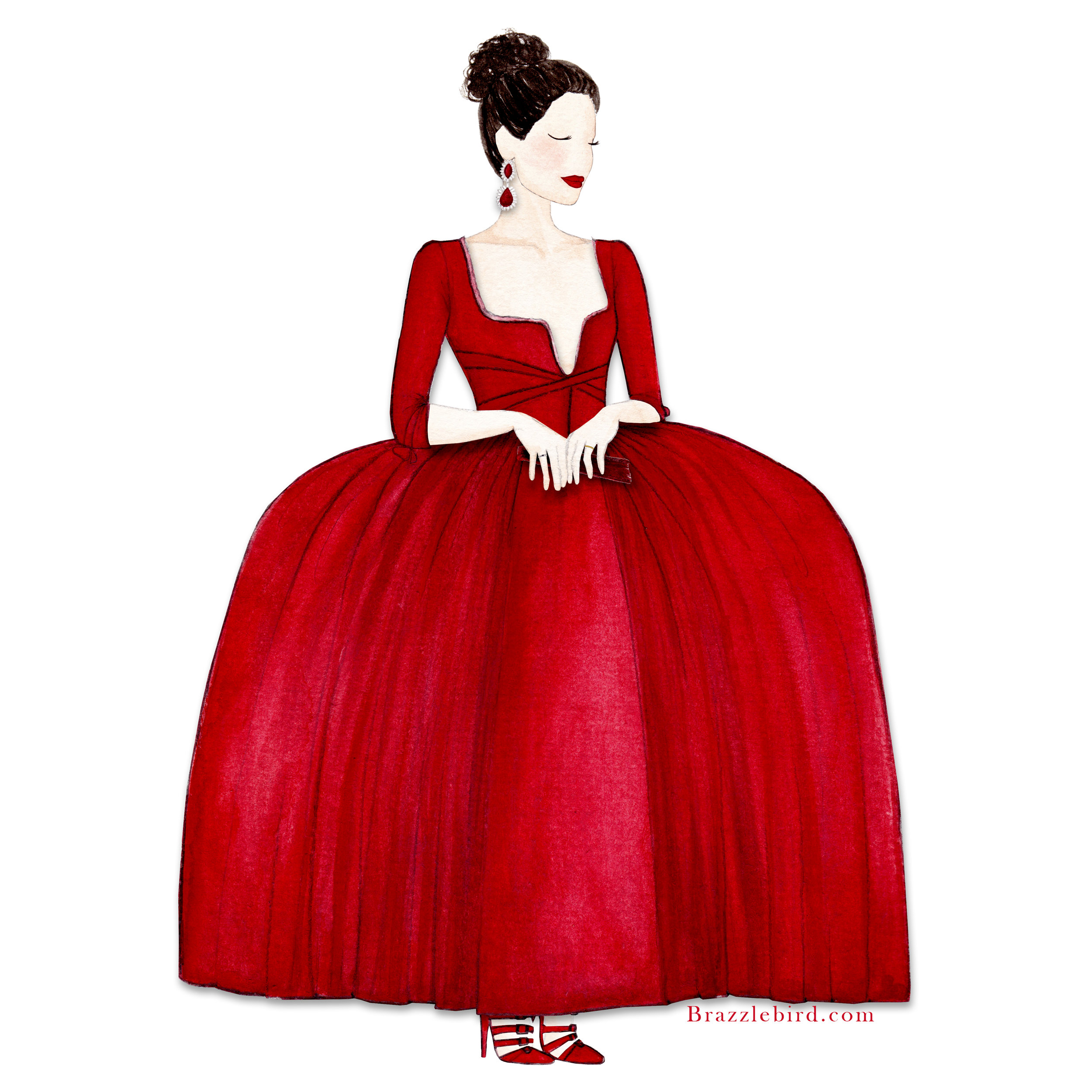 Brazzlebird - Claire Fraser Red Dress Outlander Watercolor Painting