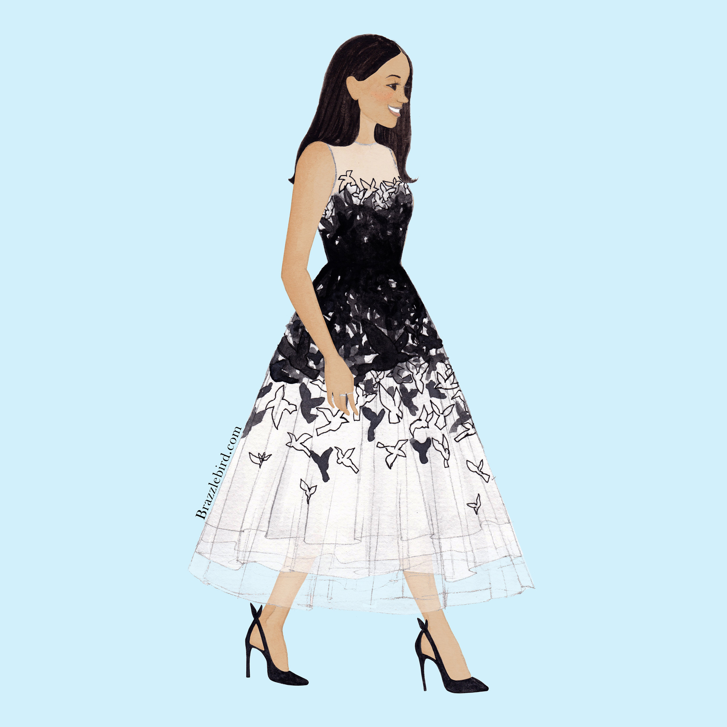 Brazzlebird - Meghan Markle Oscar De La Renta Bird Dress Watercolor Fashion Doll