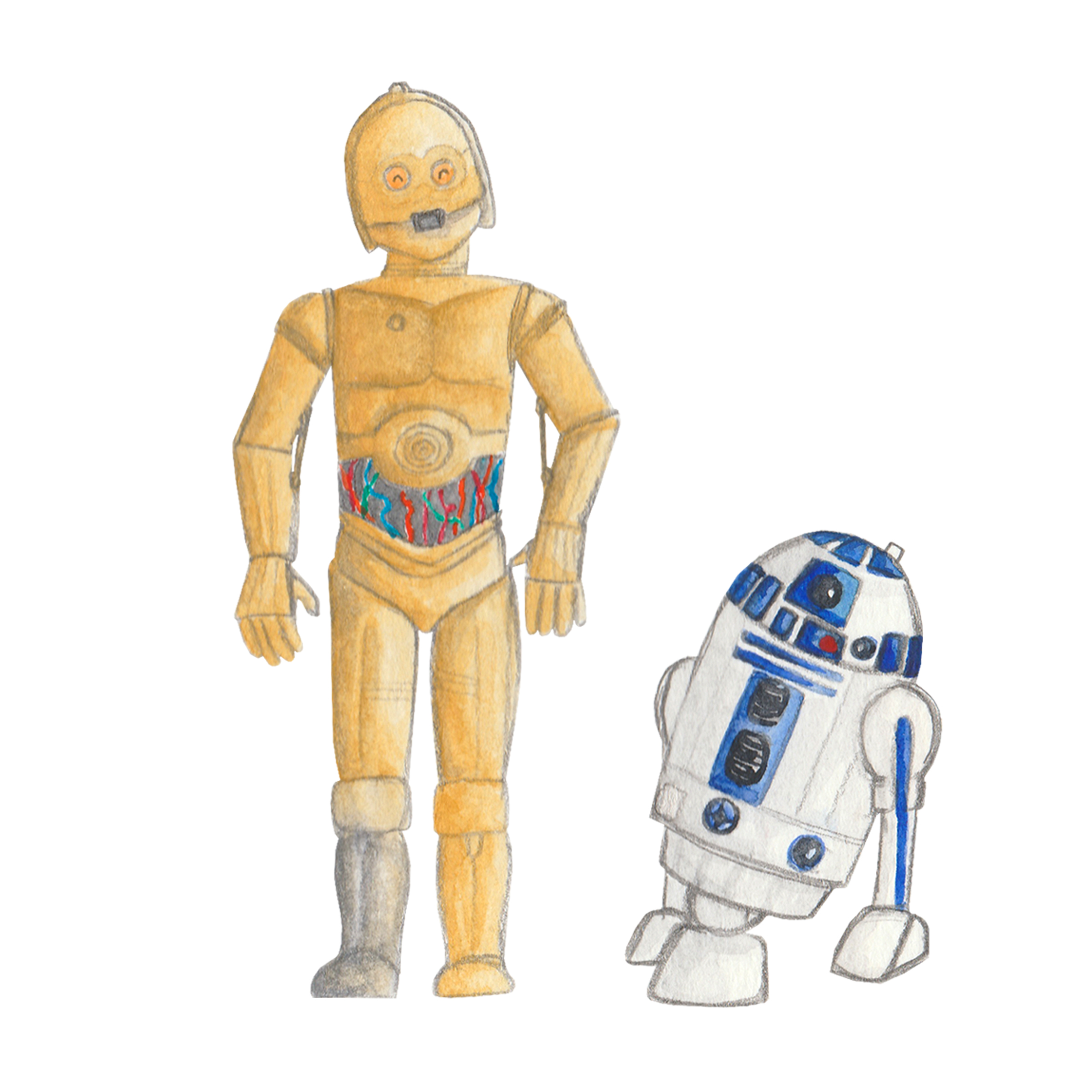 Brazzlebird - Star Wars C3PO and R2D2 Watercolor Painting