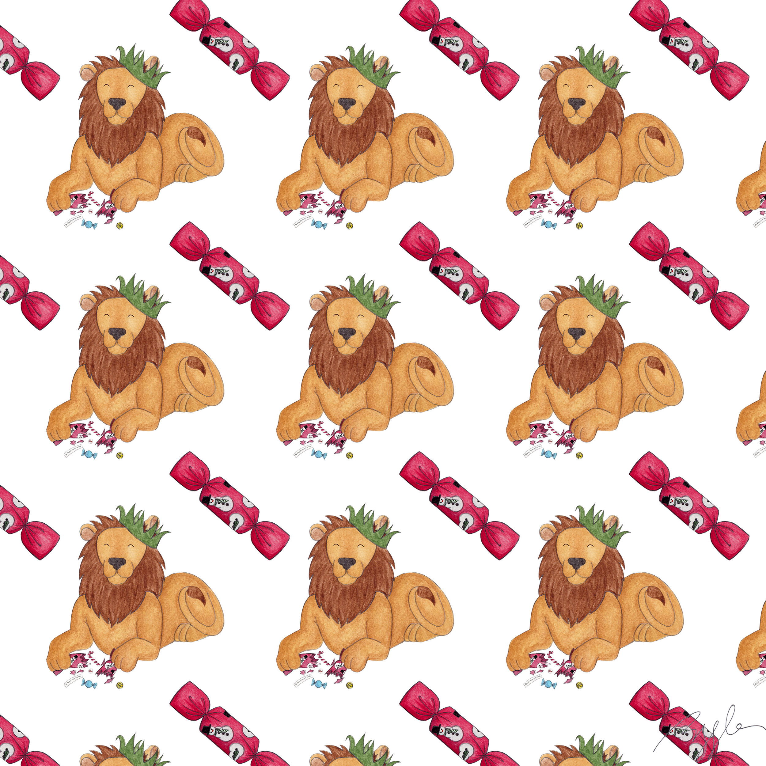 Brazzlebird - Christmas Party Animals Lion Pattern