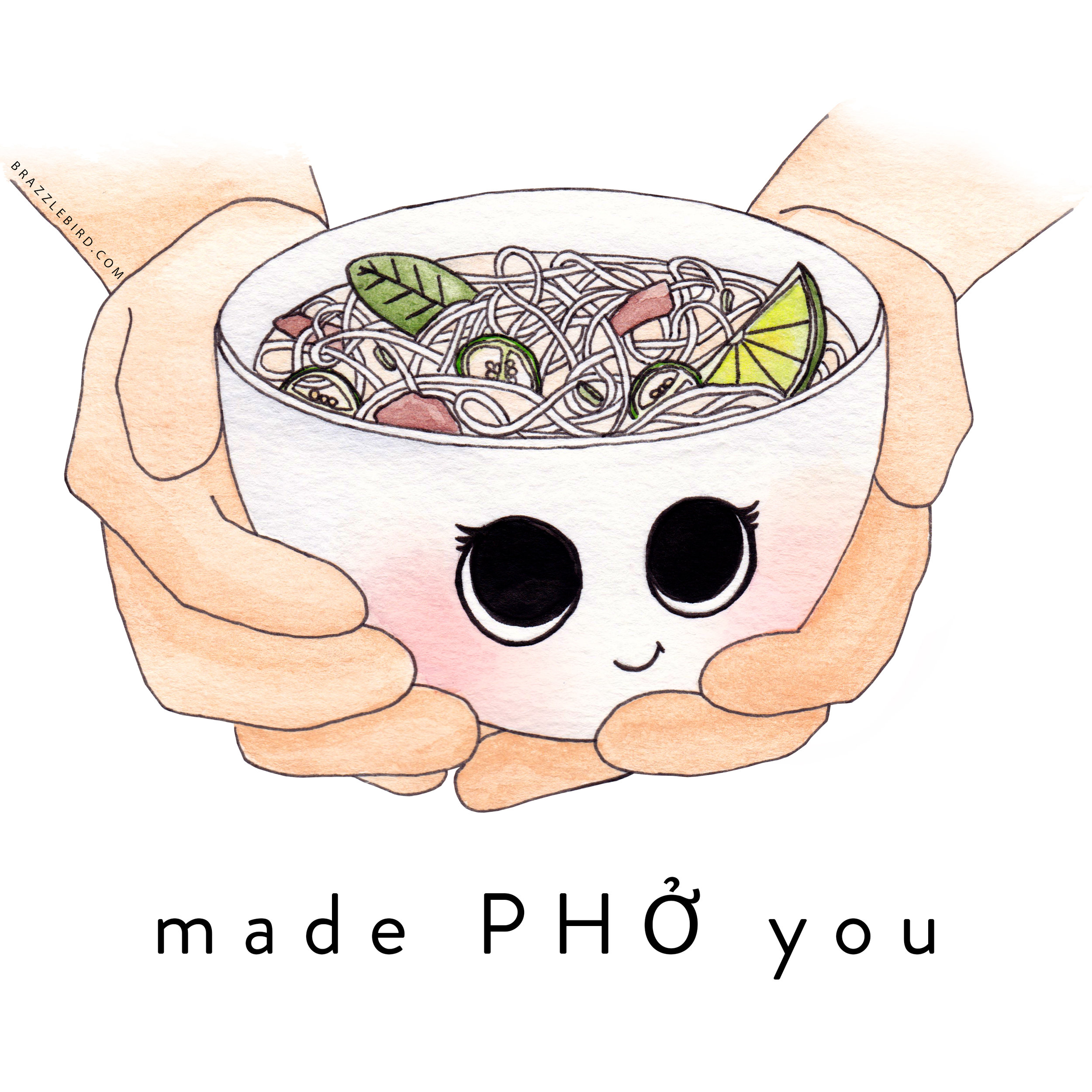 Brazzlebird - Made Pho You Pun Food Cartoon