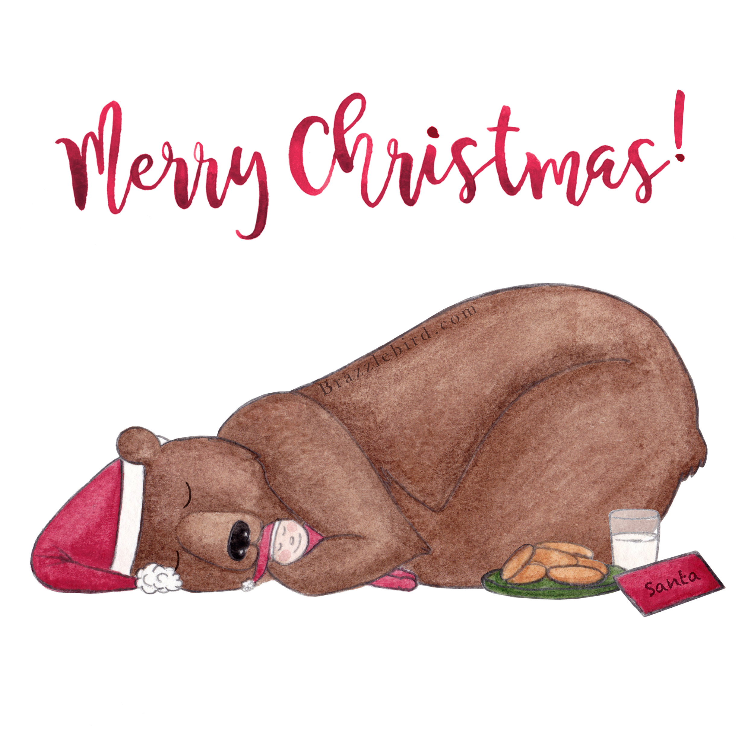 Brazzlebird - Merry Christmas Hibernating Grizzly Bear Cuddling Teddy Bear