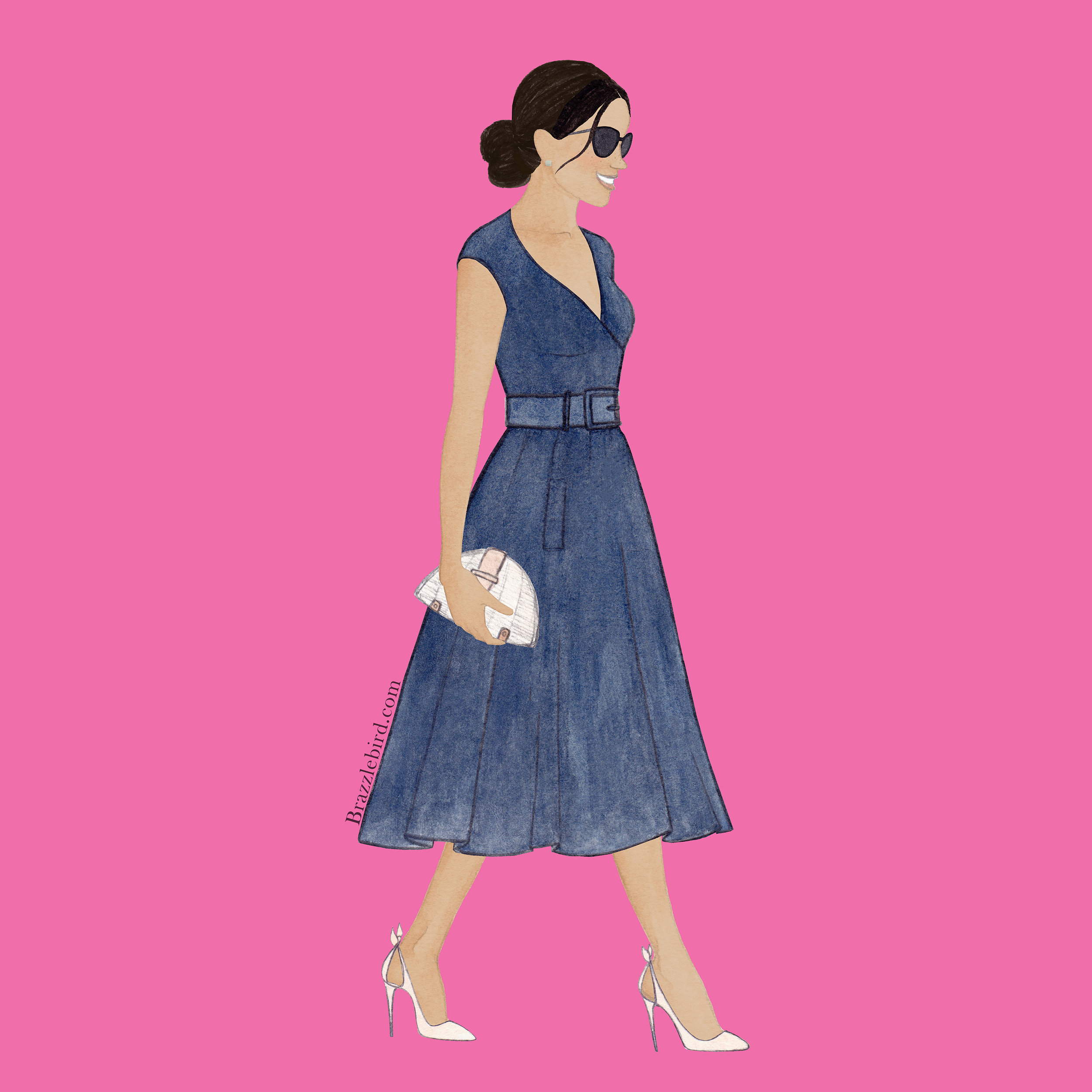 Brazzlebird Meghan Markle Sentebale Polo Fashion Illustration