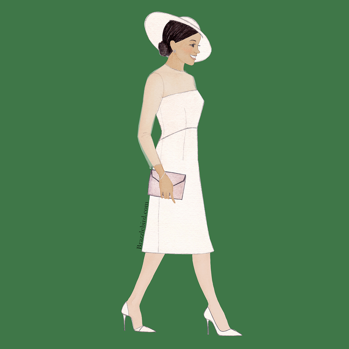 Brazzlebird Meghan Markle GOAT Dress Garden Party Fashion Illustration