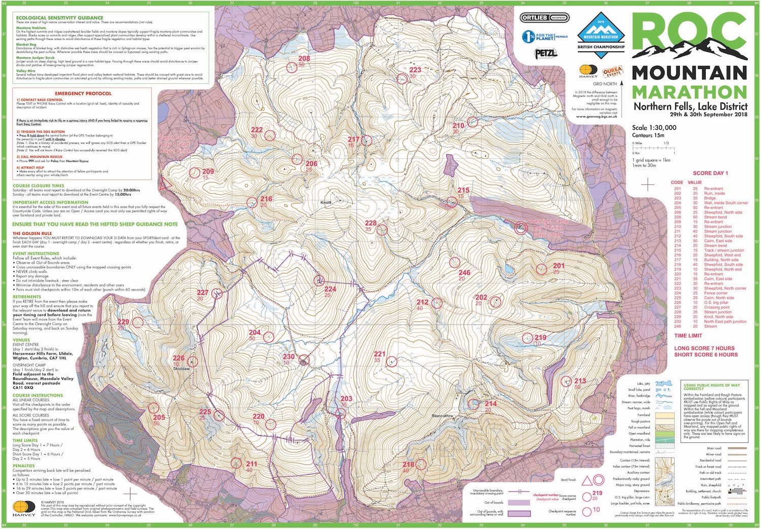 An example score course map from our sister event the ROC Mountain Marathon™