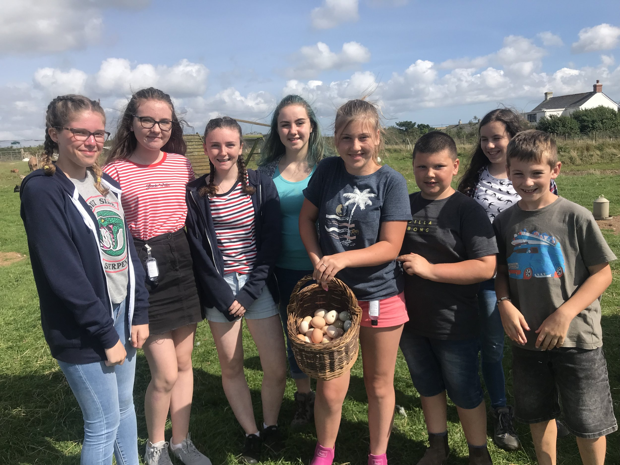 Collecting eggs as a team, before boxing them up to sell at the gate.