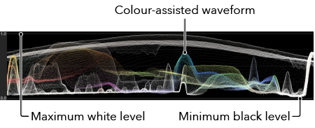 Waveform Monitor - The waveform monitor helps you to shoot with the optimum dynamic range - you can ensure this by maintaining a good vertical spread of your waveform. White peaks and black troughs that flatten out, show over and under exposed portions of video where the dynamic range is exceeded.