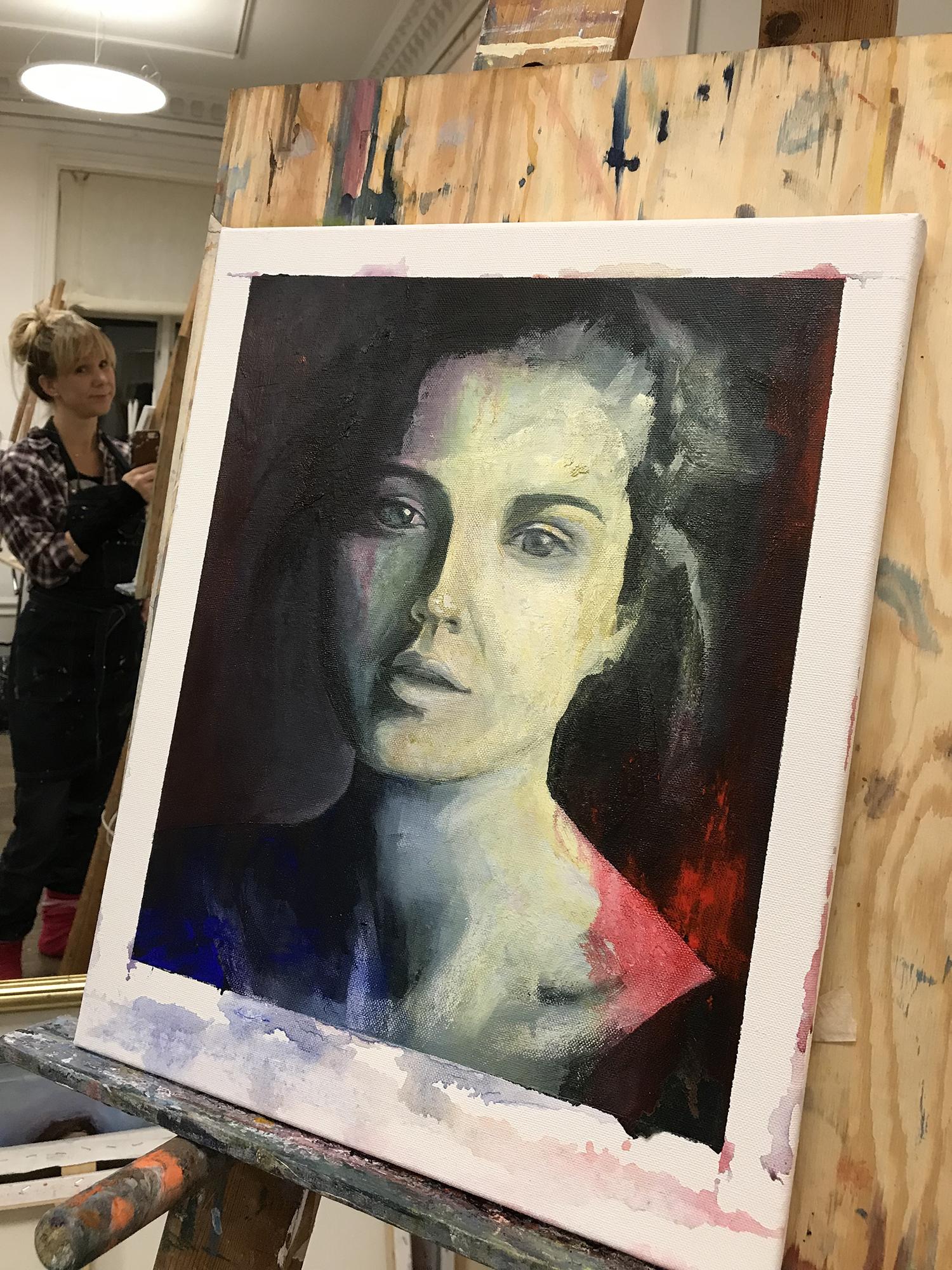 Porträtt med svartvit undermålning