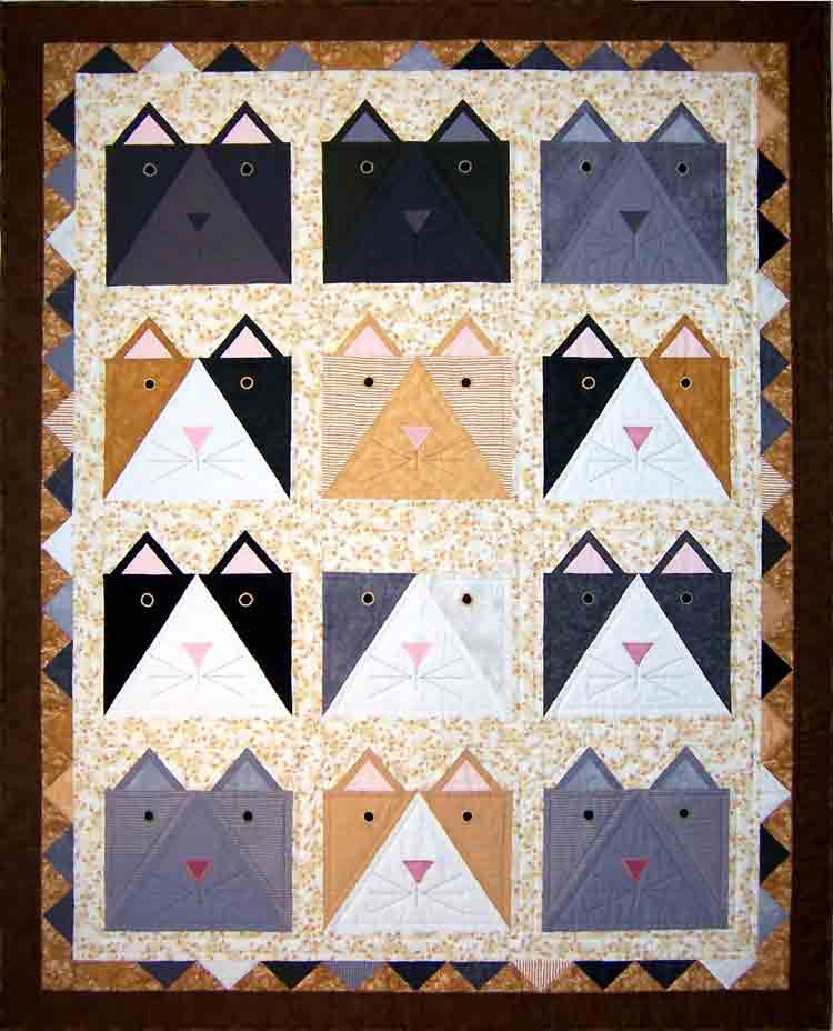 custom cat quilt by Whimzie Quiltz and More