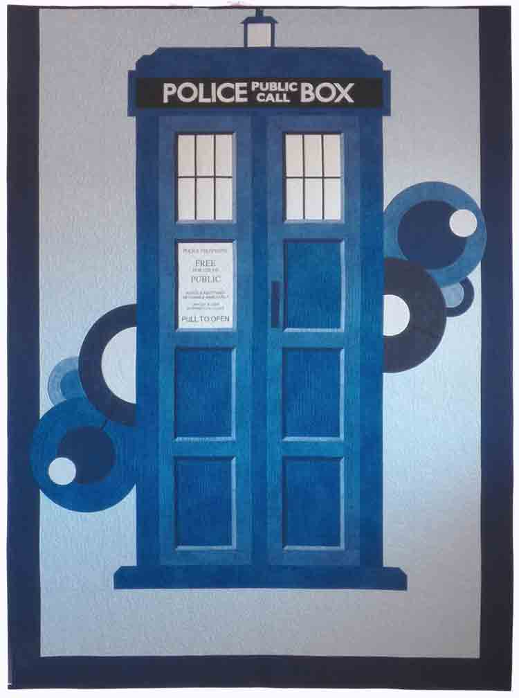 custom Tardis quilt by Whimzie Quiltz and More