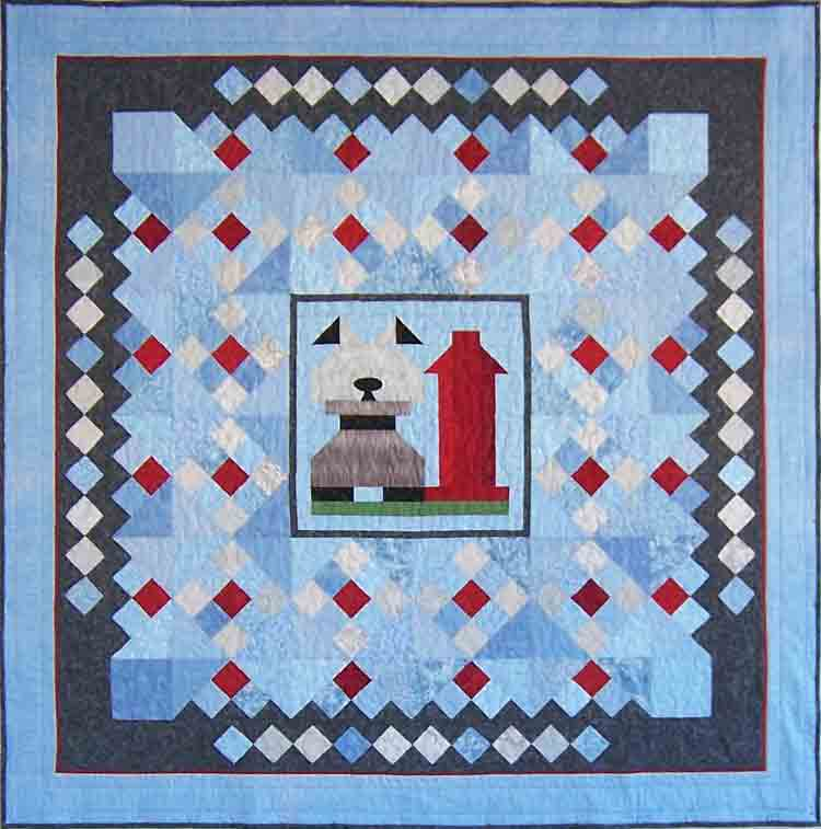 custom scruffy dog quilt by Whimzie Quiltz and More