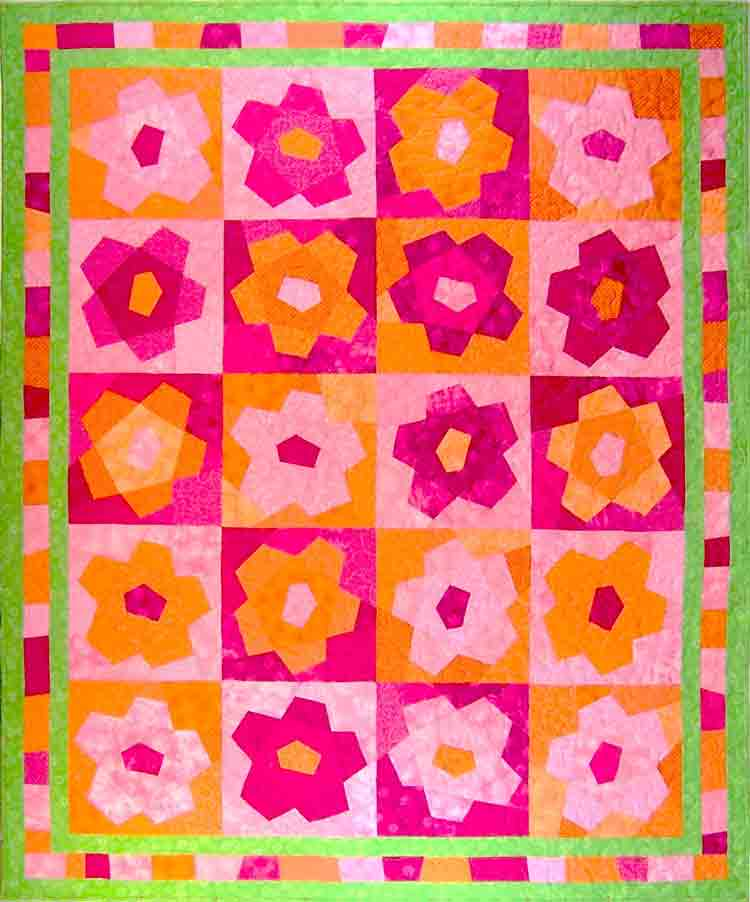custom flowers quilt by Whimzie Quiltz and More