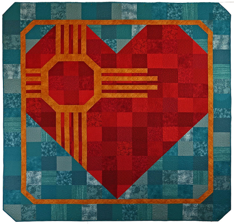 custom zia heart quilt by Whimzie Quiltz and More