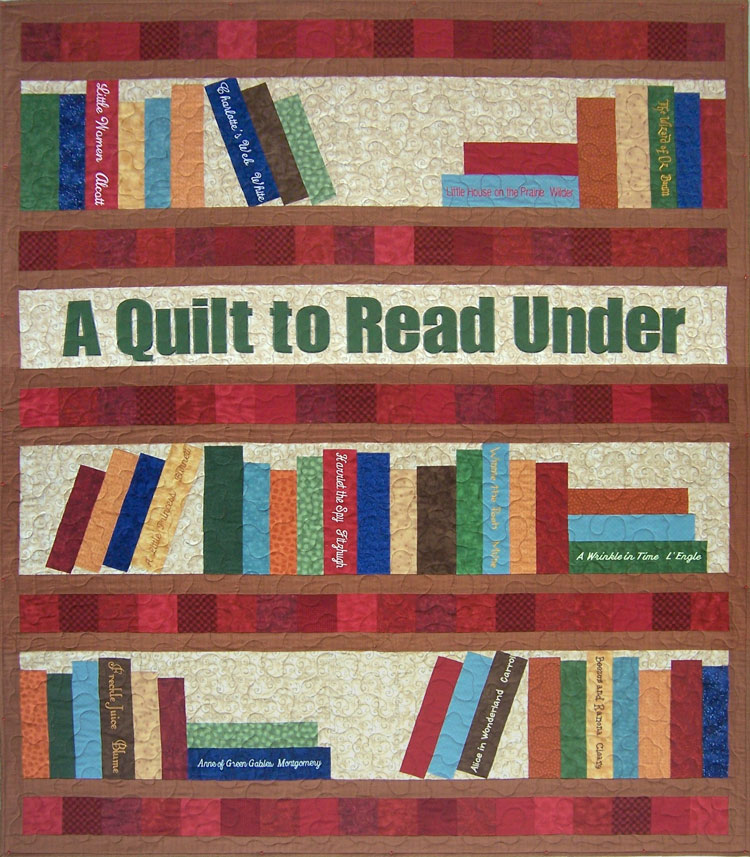 custom bookcase quilt by Whimzie Quiltz and More