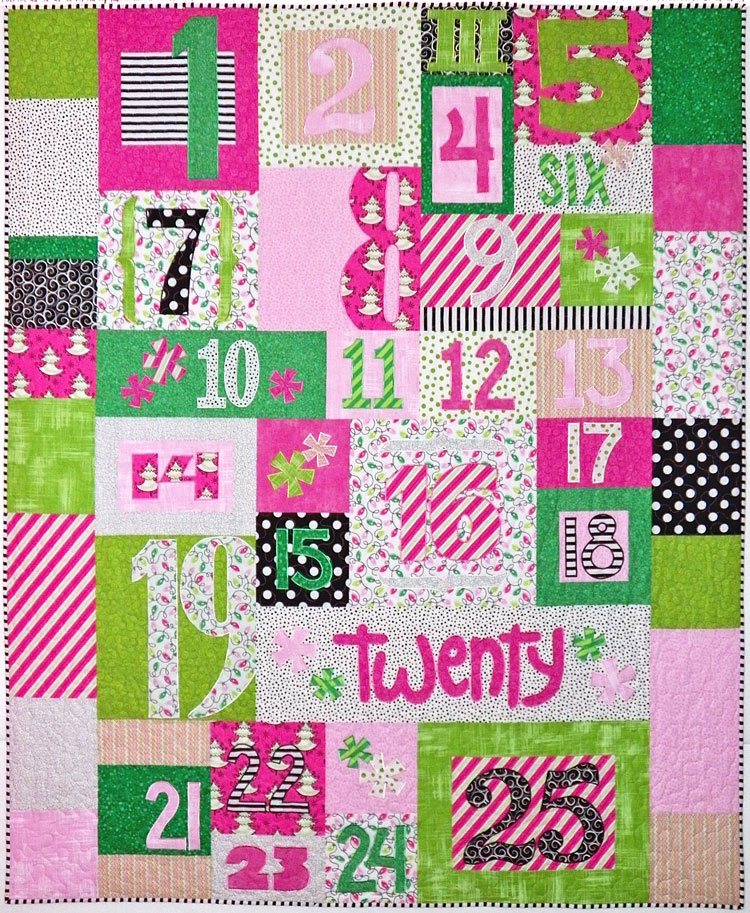 custom Christmas countdown quilt by Whimzie Quiltz and More