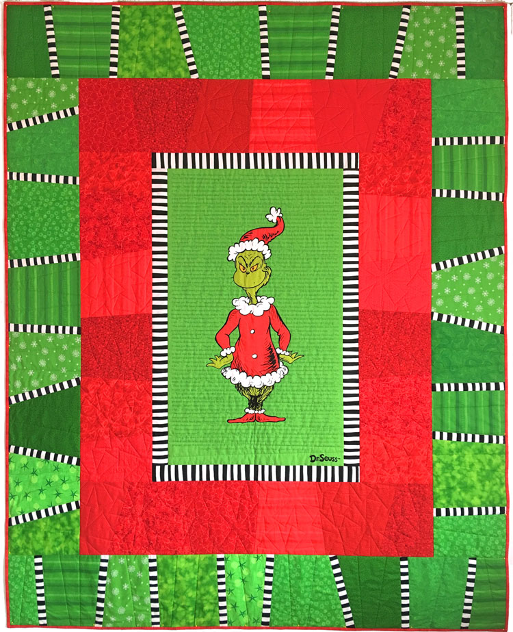 custom Grinch quilt by Whimzie Quiltz and More