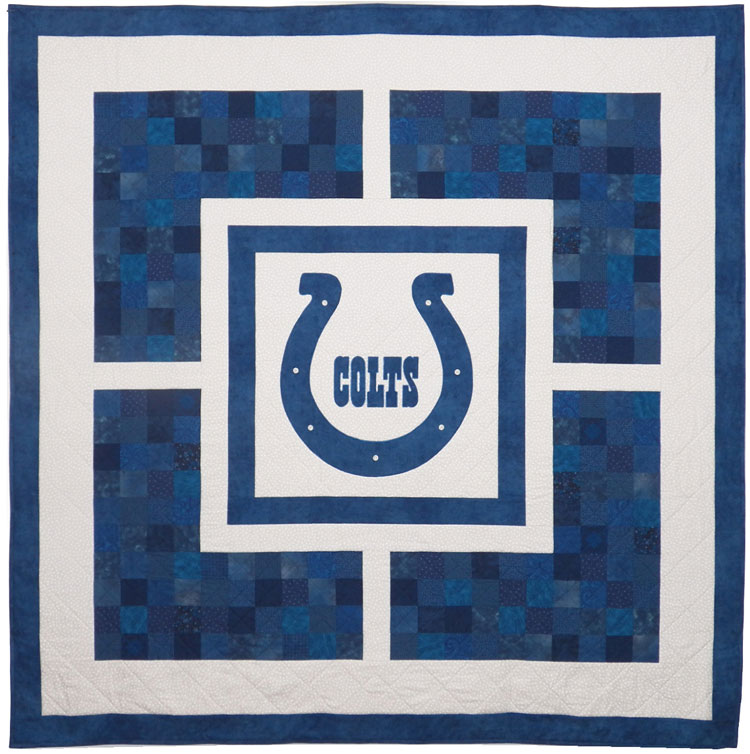 custom Indianapolis Colts quilt by Whimzie Quiltz and More