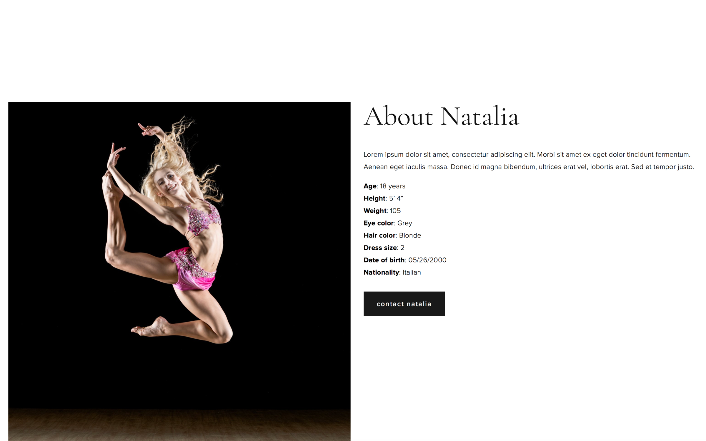 dancer about page design 1 - view demo