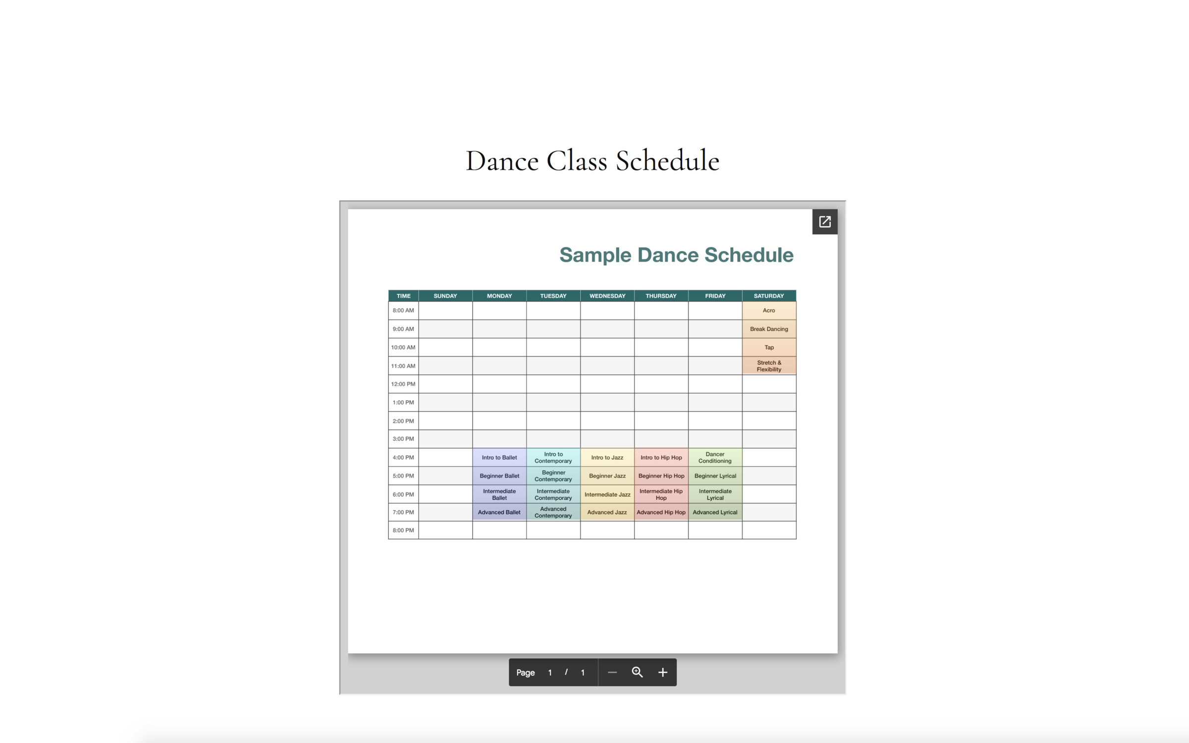 studio class schedule pdf - view demo