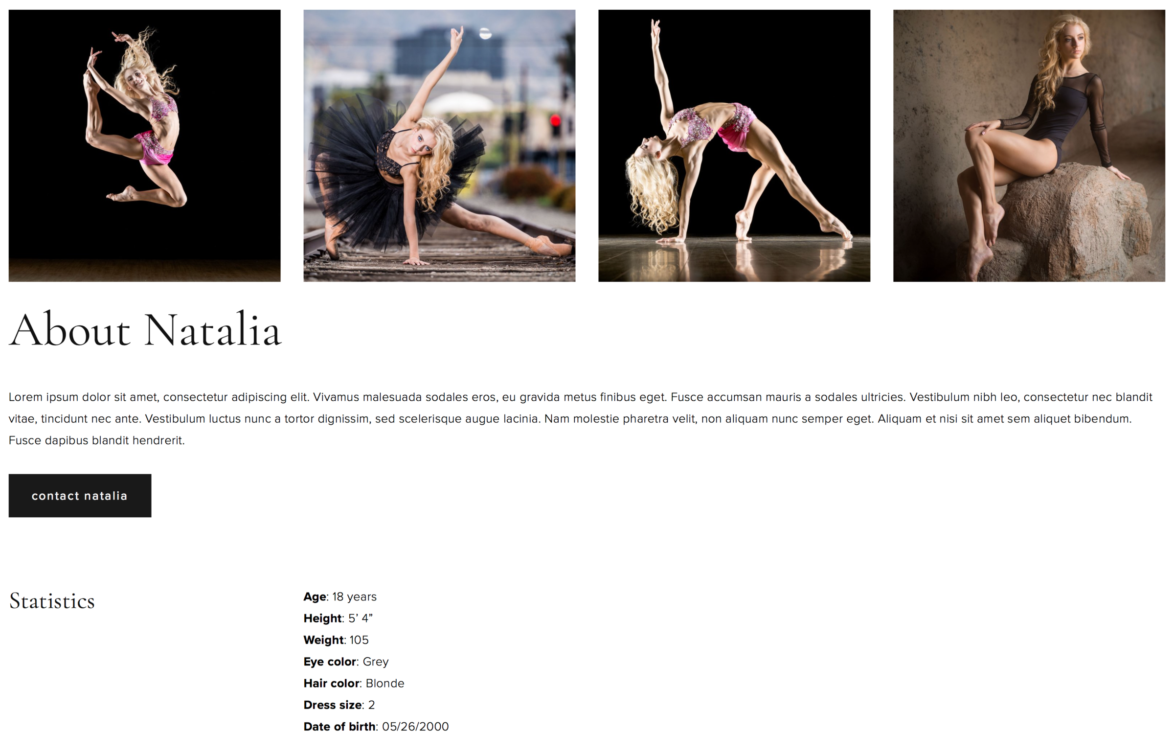 dancer about page design 2 - view demo
