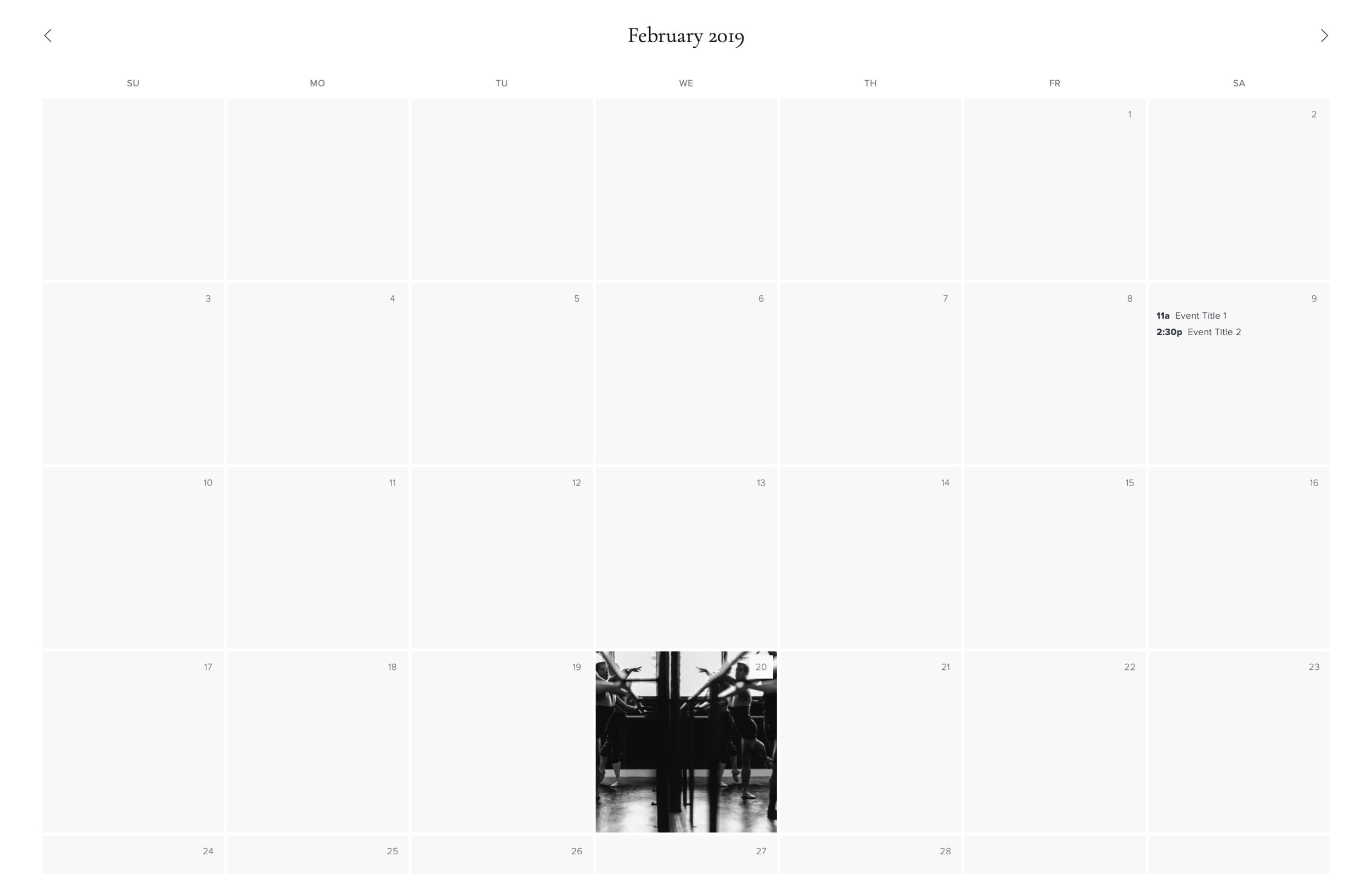 events calendar - view demo