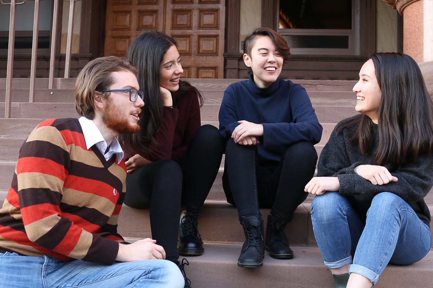 Our first executive team for the Victoria College First Ministers Conference Simulation in 2017 (from left to right: David de Paiva, Talia Holy, Mia Sanders, Kate Schneider)