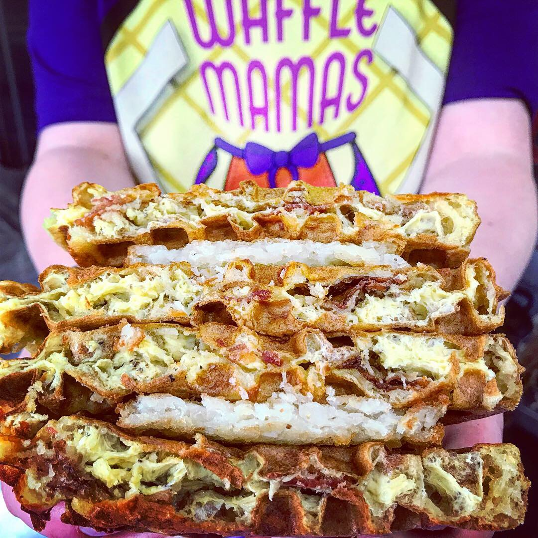 Stuffed Breakfast waffle sandwich - Egg, cheese and choice of bacon and/or sausage stuffed inside 2 buttermilk waffles with a crispy hash brown patty in between