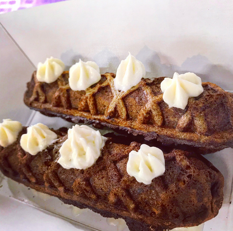 Carrot cake waffle sticks - with yogurt cream cheese frosting