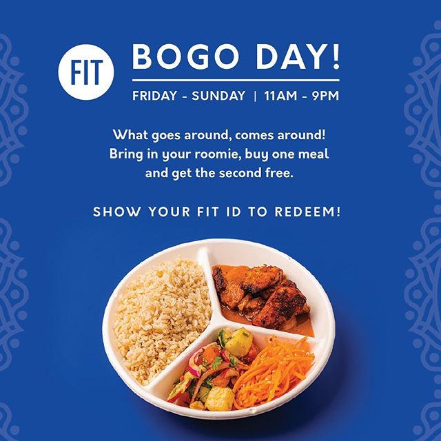 @fitreslife & @fitnyc, come to Dalup! Today and all week long, enjoy BOGO Karma Bowls, Naan Rolls and Salads! Staff and students can show your FIT IDs to redeem.