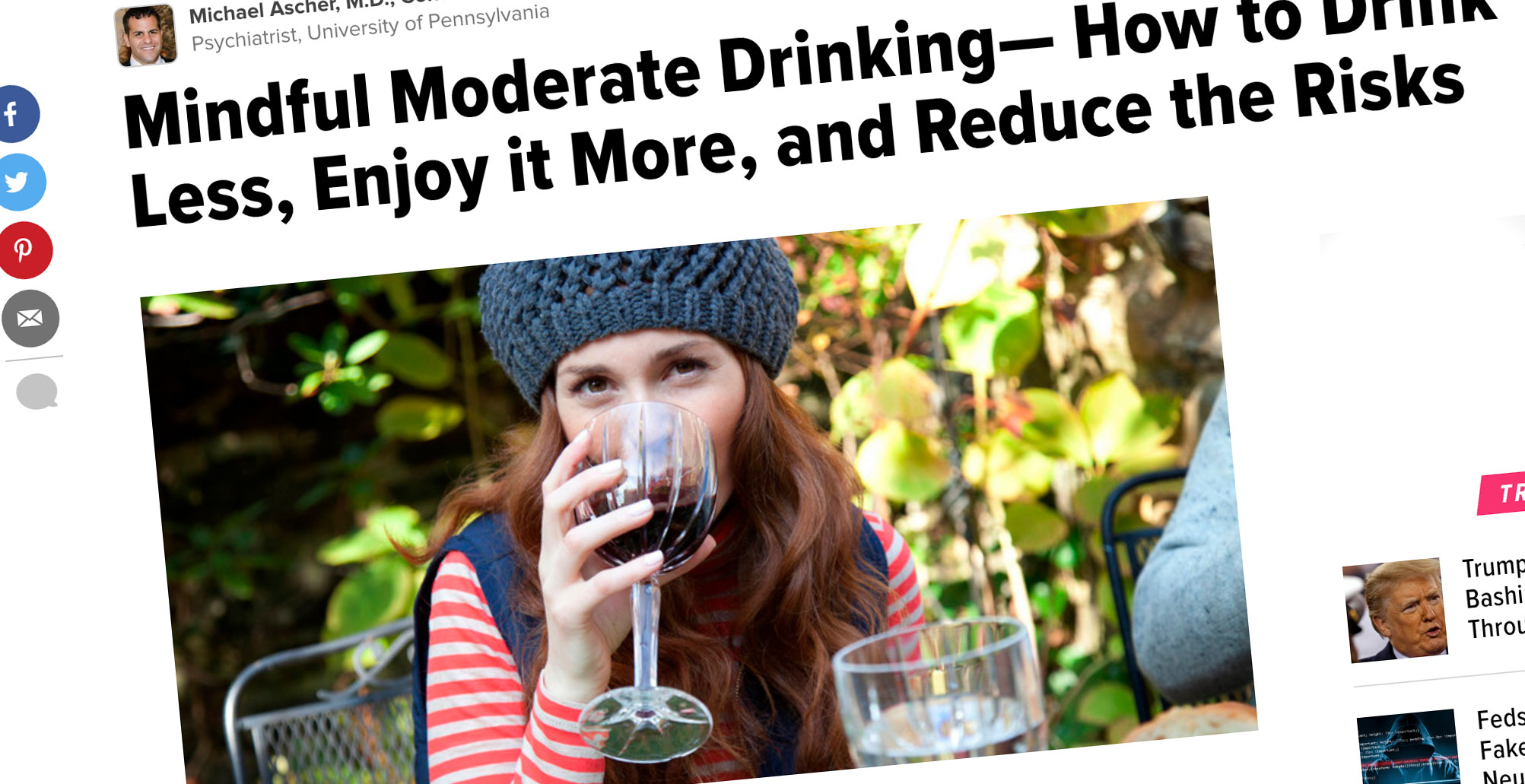 "Huffpost Mindful Moderate Drinking… - ""Having this objective data during and after an episode of drinking can help you to gain a more realistic view of your consumption."""