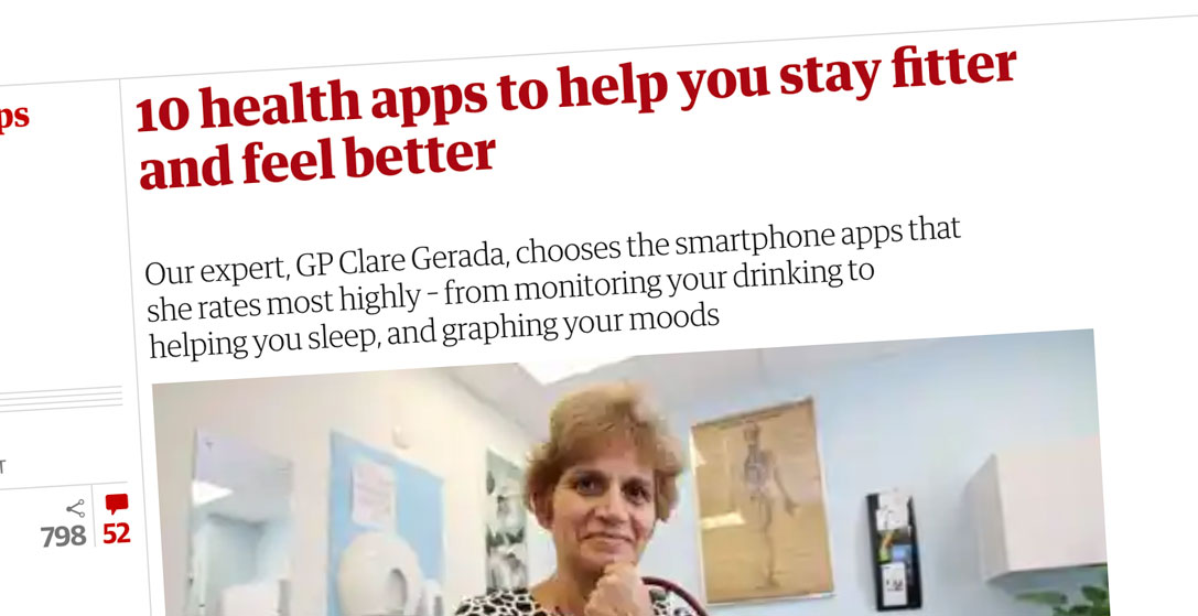 The Observer 10 Best Health Apps - DrinkCoach recommended by Clare Gerada (Chair of NHS E Board for Transforming Primary Care in London and Ex-chair of the Royal College of GPs).