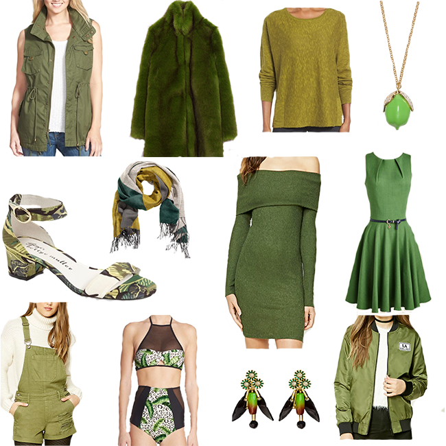 1| Twill Vest 2| Zara Faux Fur Coat 3| Coriander Pullover 4| Lime Necklace 5| Block Heel Tropical Sandal 6| HM Scarf 7| Off the Shoulder Dress 8| Modcloth Dress 9| Shorteralls 10| Tropical Bikini 11| HM Earrings 12| F21 Bomber Jacket