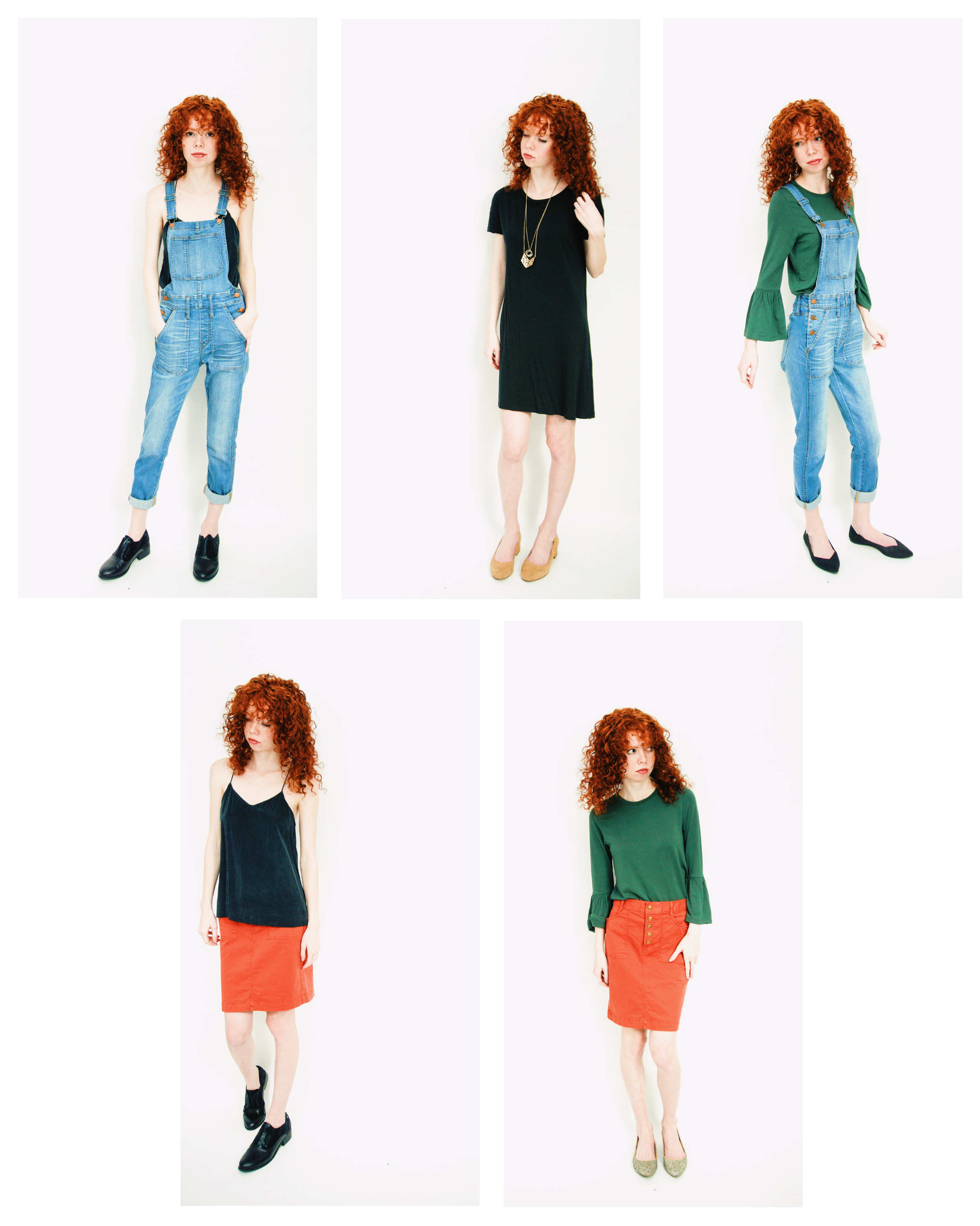 Overalls and Bell Sleeves in Wintry Jewel Tones. The perfect outfit for cutting a Christmas tree or baking cookies!