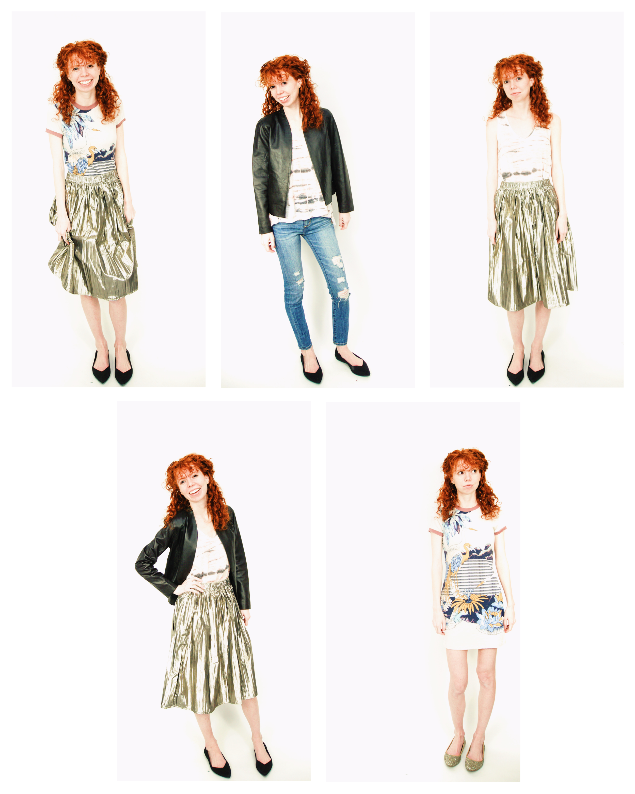 Who knew tie dye was making a comeback? At least, in my closet. This capsule includes a tie dye tank, one shiny shiny skirt, a leather blazer, a graphic tee dress, AND ripped jeans? Say what!