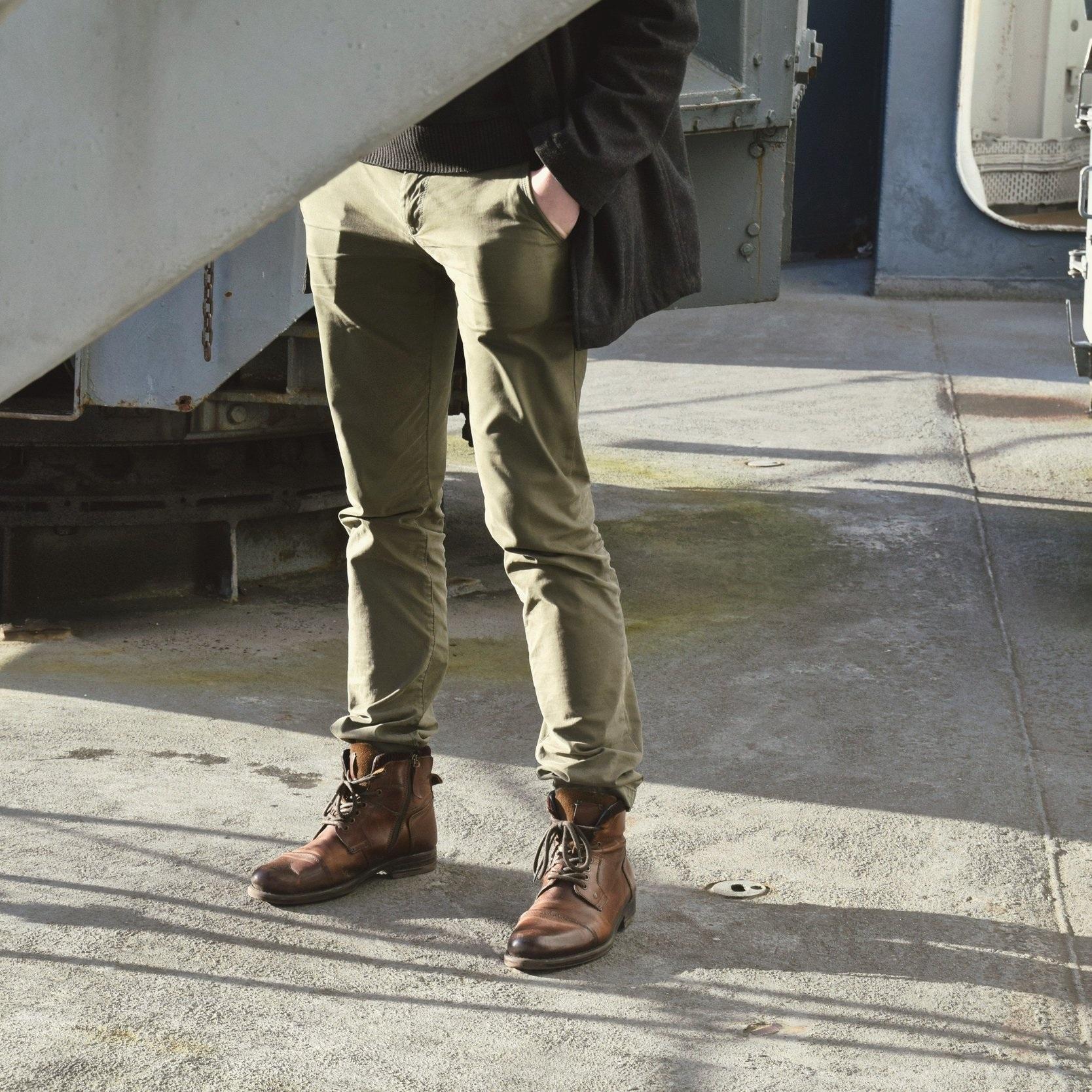 man-green-pants