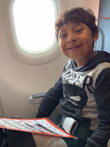Sebastian flies from Brisbane to Sydney for his op